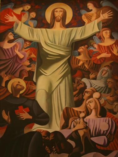Cristo tra i malati, anni 90, acrilico su tavola, cm 190x300, Ascoli Piceno, Auditorium Carisap