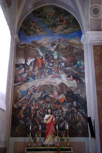 Tre Chiese, la Militante, la Purgante e la Trionfante, 1958, affresco, Petritoli, Chiesa di Santa Maria in piazza