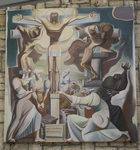 Crocifissione, 1981, acrilico su tavola, cm 240x350, Castel di Lama, Chiesa di S. Antonio da Padova