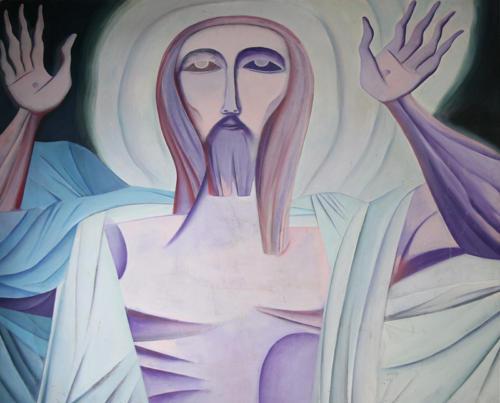 Cristo Risorto, 1981, acrilico su tavola, cm 220x180, Castel di Lama, Chiesa di S. Antonio da Padova