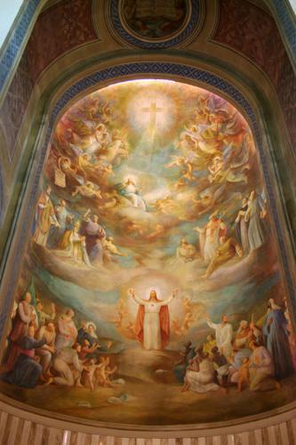 I tre regni, 1955, affresco, Ascoli Piceno, Chiesa del Sacro Cuore, abside centrale