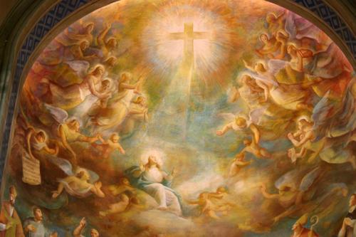I tre regni, particolare, 1955, affresco, Ascoli Piceno, Chiesa del Sacro Cuore, abside cent