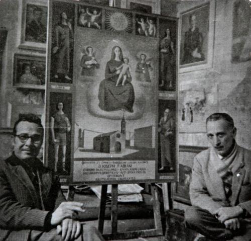 Dino Ferrari con a destra il Mago PecheÌ, al secolo Giuseppe Silvestri, anni 50