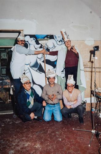 Momenti di goliardia in studio. Ascoli Piceno, primi anni 90